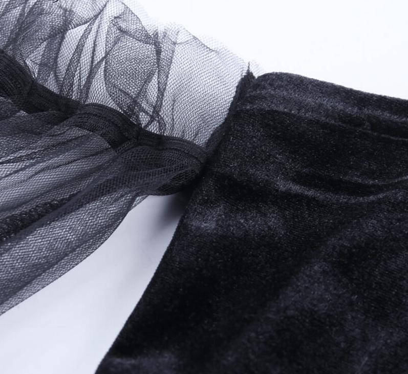 Pastel Gothic Mesh sleeve Vintage Dresses 48