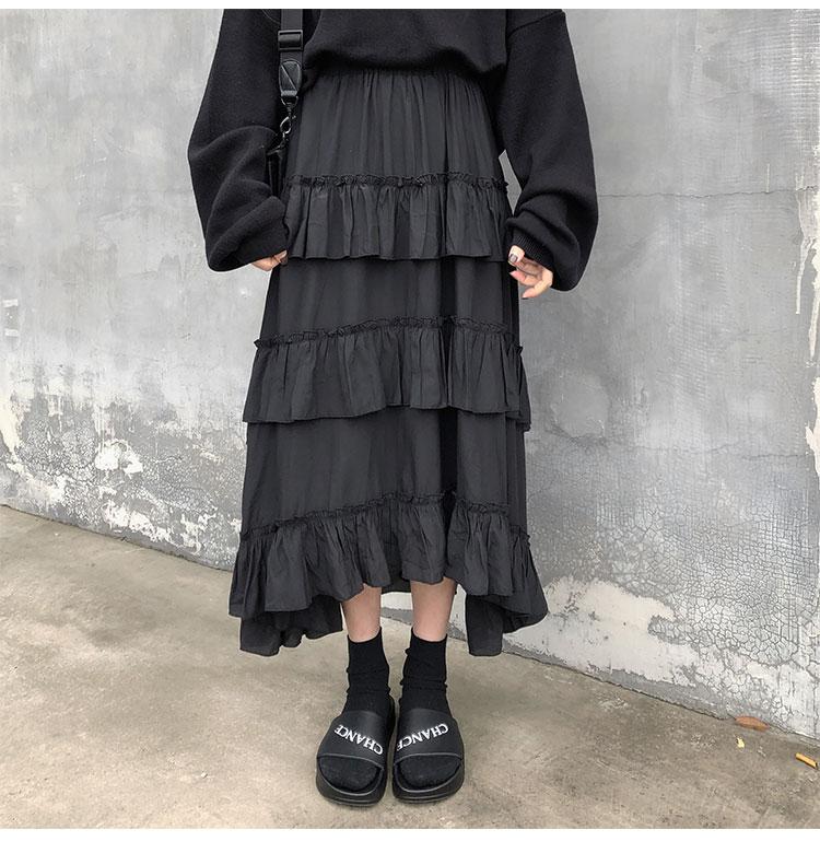 Asymmetrical Ruffle Maxi Skirt Punk Harajuku 45