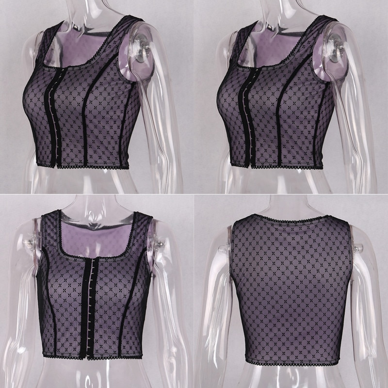 Sleeveless Lace Crop Top Y2K aesthetic 41