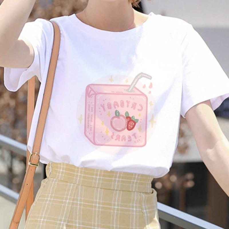 E-girl Soft girl Cartoon Peach print T-shirt 47