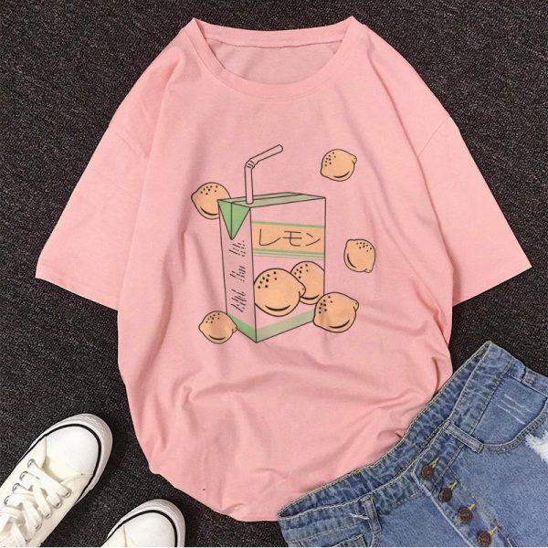 Cartoon Peach print T-shirt 6