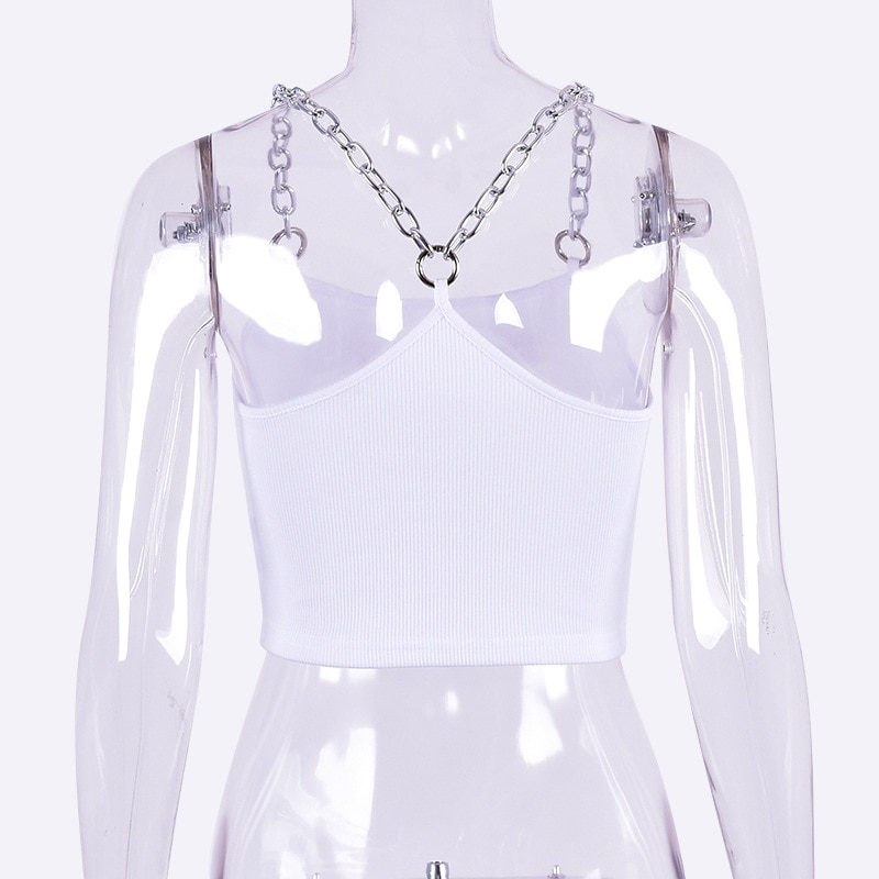 Cropped Tank Top with Metal Chain Straps Egirl 50