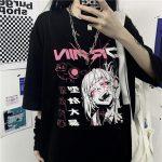 Harajuku Gothic T-shirt with anime print 1