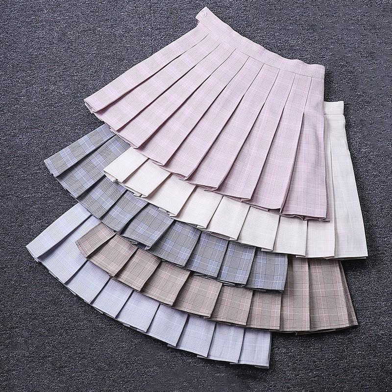 Egirl Harajuku Soft girl Plaid Pleated Mini Skirt 48