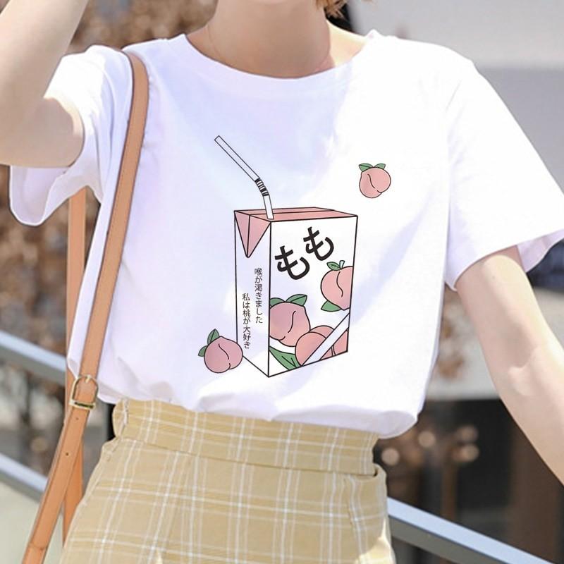 E-girl Soft girl Cartoon Peach print T-shirt 52