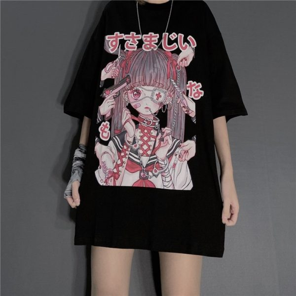 Gothic Harajuku T-shirt with anime print 7