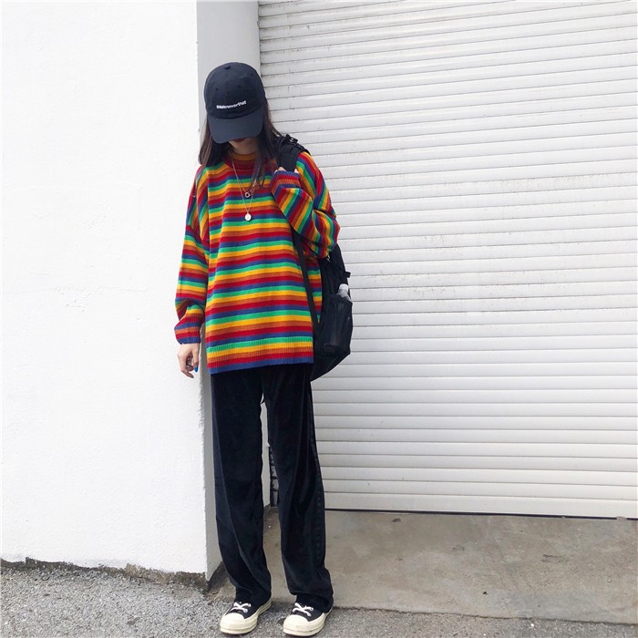 Harajuku E-girl Loose Striped Sweater 46