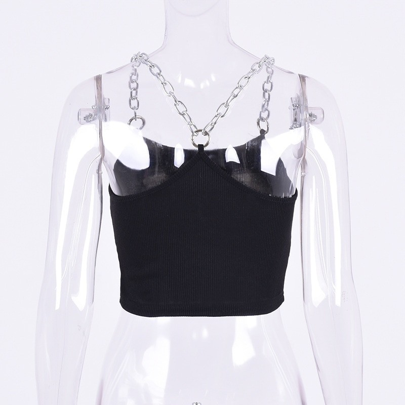 Cropped Tank Top with Metal Chain Straps Egirl 53