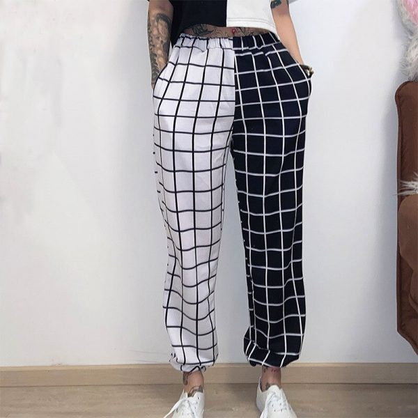Black and White Checkerboard Trousers 5