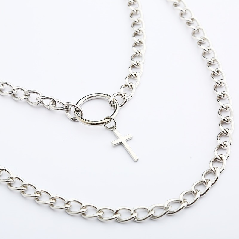 Layered Chain Necklace with Cross Pendant E-girl Pastel gothic 45