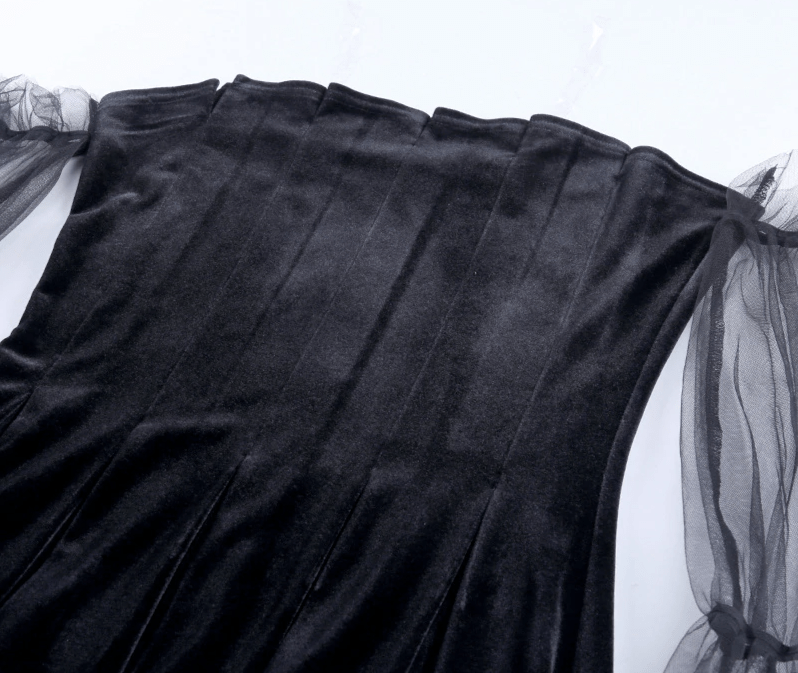 Pastel Gothic Mesh sleeve Vintage Dresses 47