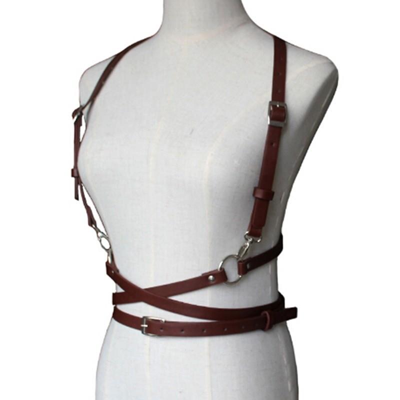 Pastel gothic Leather Body Bondage Waist Belt 44