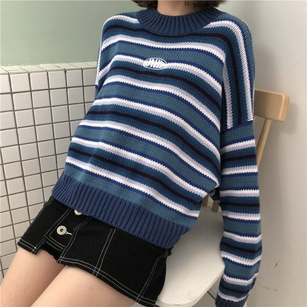 Striped loose sleeves pullover  10