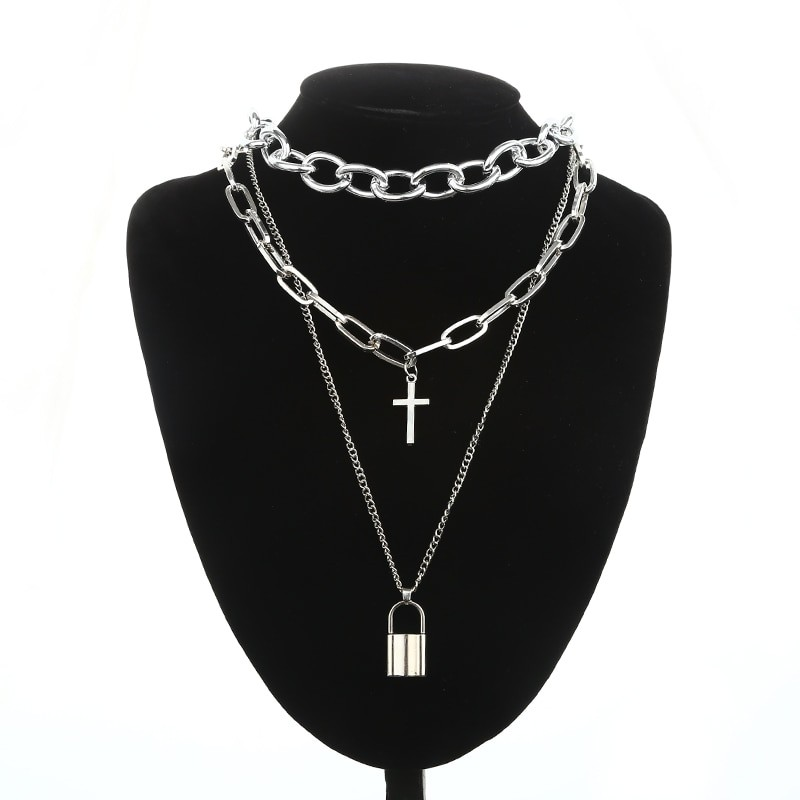 Layered Chain Necklace with Cross Pendant E-girl Pastel gothic 51