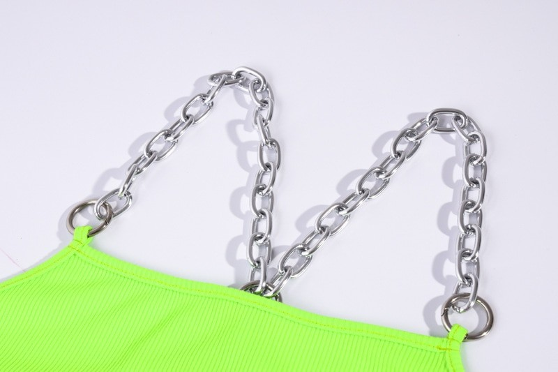 Cropped Tank Top with Metal Chain Straps Egirl 45