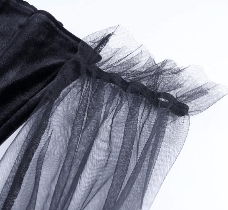 Pastel Gothic Mesh sleeve Vintage Dresses 46