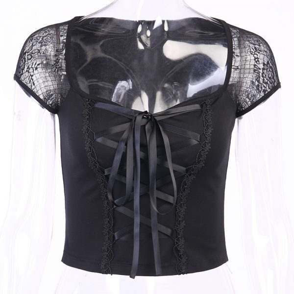Vintage Top with mesh shoulders and lacing 5