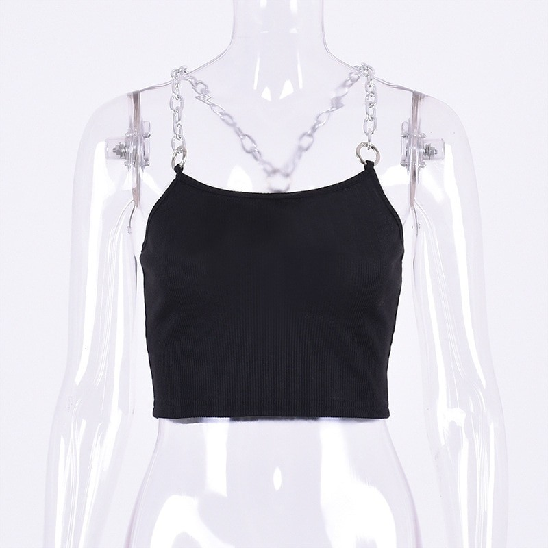 Cropped Tank Top with Metal Chain Straps Egirl 51