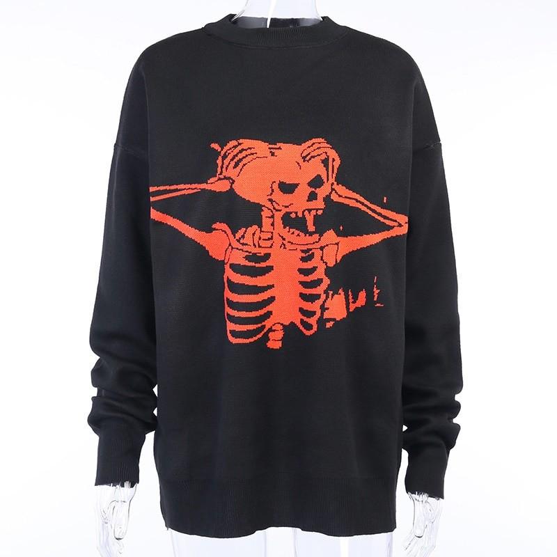 Egirl Eboy Grunge Oversized sweater with skull pattern 46
