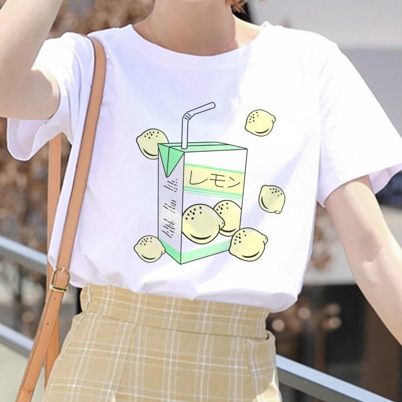 E-girl Soft girl Cartoon Peach print T-shirt 49