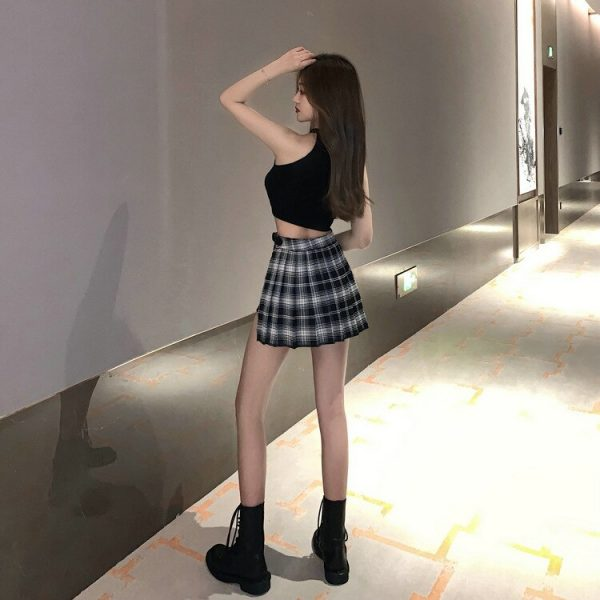 Open Pleated  Mini Skirt with shorts 14