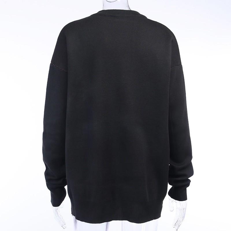 Egirl Eboy Grunge Oversized sweater with skull pattern 48