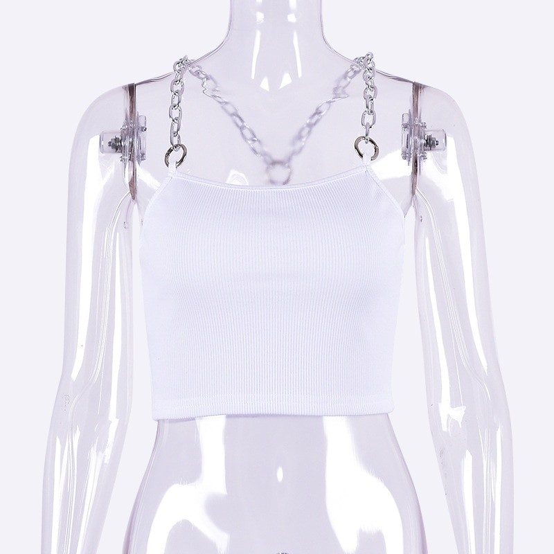 Cropped Tank Top with Metal Chain Straps Egirl 48