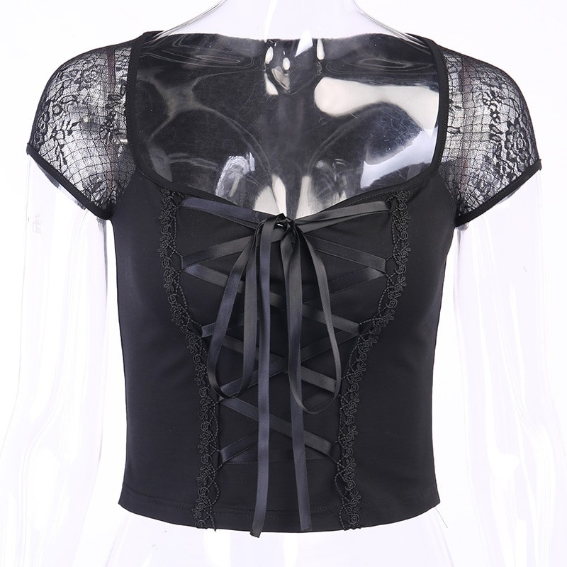 Vintage Top with mesh shoulders and lacing Egirl Pastel gothic 46