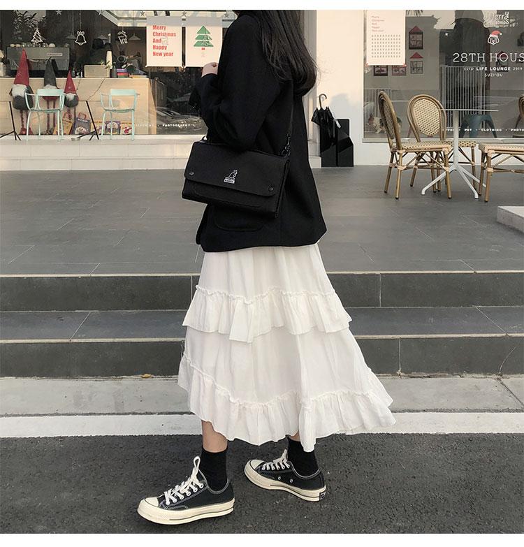 Asymmetrical Ruffle Maxi Skirt Punk Harajuku 53