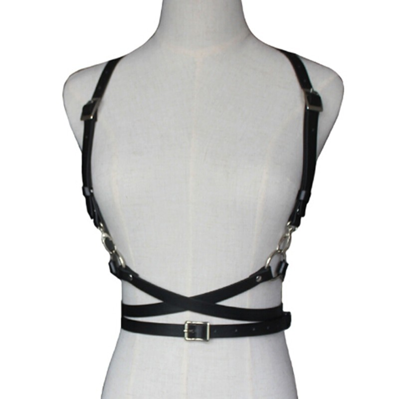 Pastel gothic Leather Body Bondage Waist Belt 43