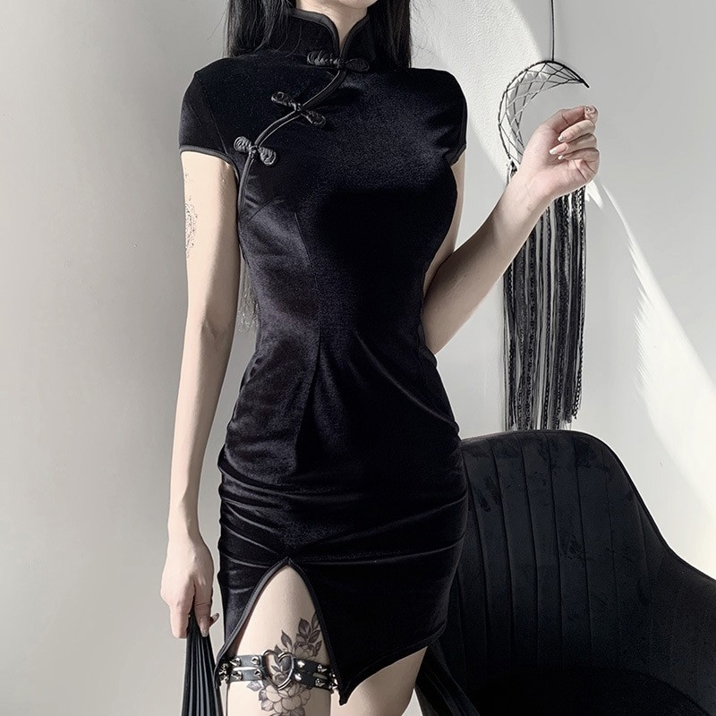Pastel gothic E-girl cheongsam dress 50