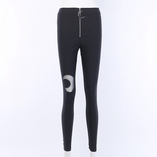 Black bodycon pants with Moon hollow out 5