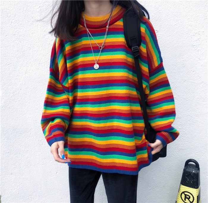Harajuku E-girl Loose Striped Sweater 42