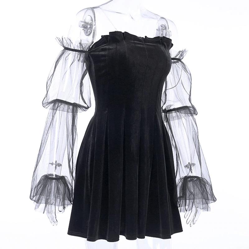 Pastel Gothic Mesh sleeve Vintage Dresses 44