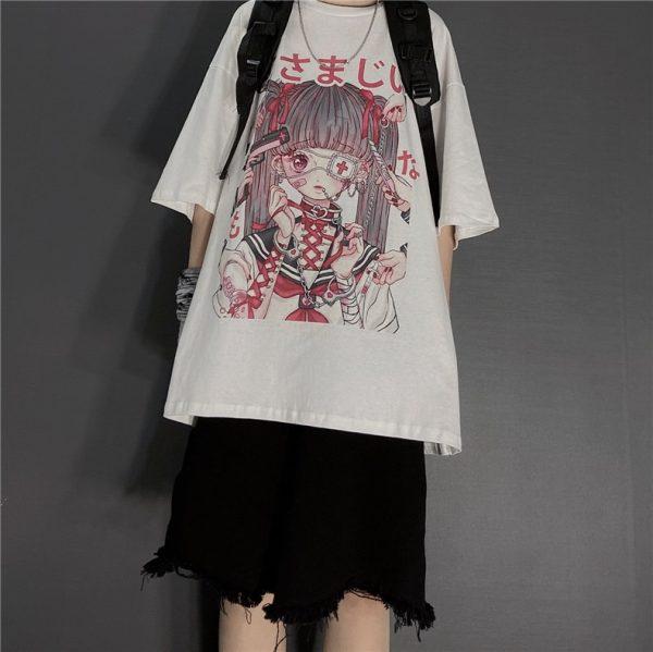 Gothic Harajuku T-shirt with anime print 8