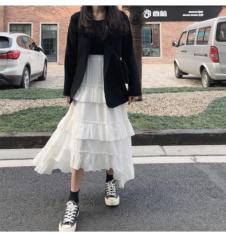 Asymmetrical Ruffle Maxi Skirt Punk Harajuku 60