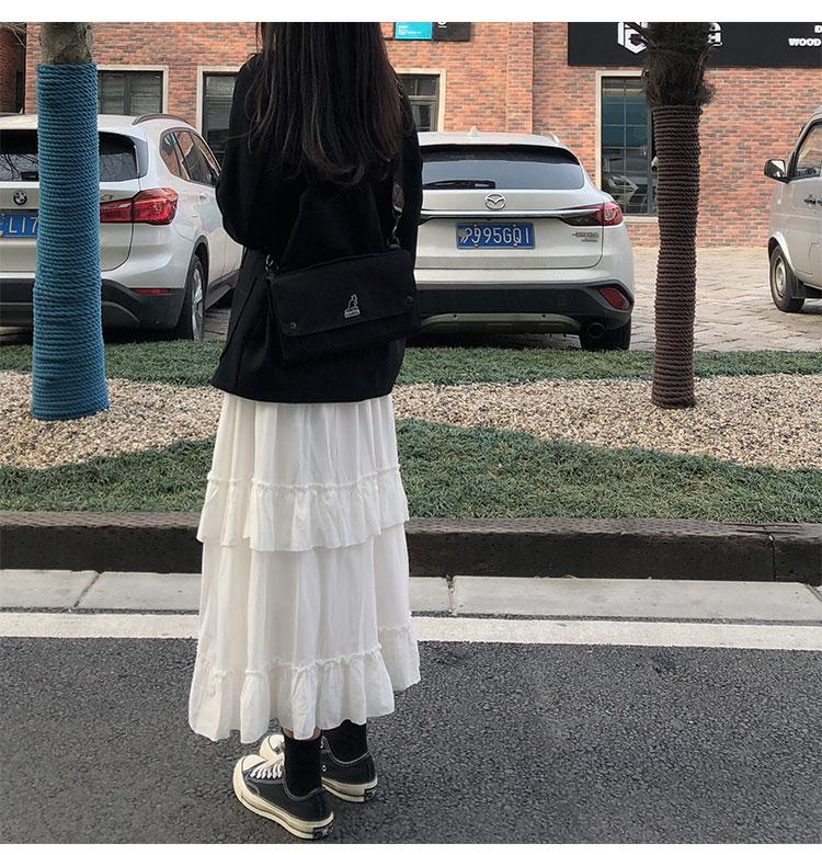 Asymmetrical Ruffle Maxi Skirt Punk Harajuku 61