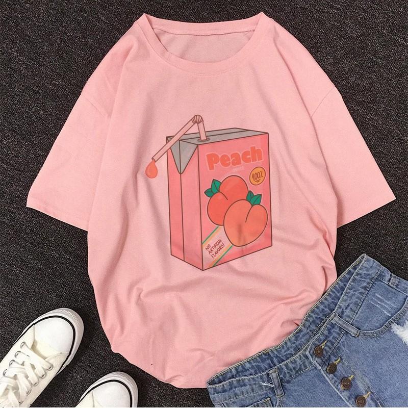E-girl Soft girl Cartoon Peach print T-shirt 56