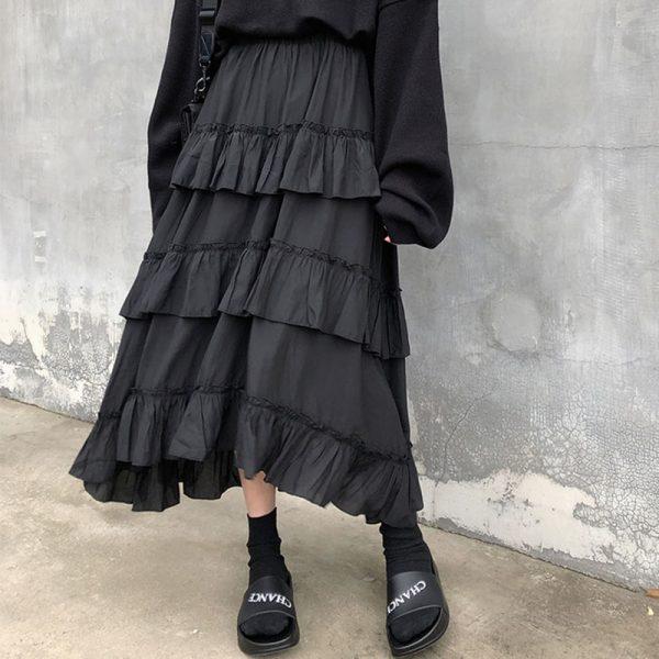 Asymmetrical Ruffle Maxi Skirt 3