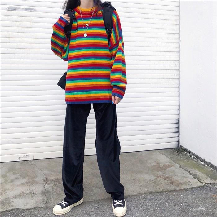 Harajuku E-girl Loose Striped Sweater 43