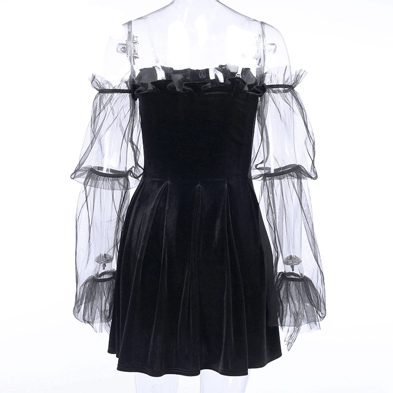 Pastel Gothic Mesh sleeve Vintage Dresses 45