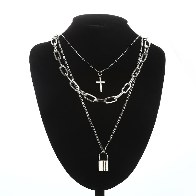 Layered Chain Necklace with Cross Pendant E-girl Pastel gothic 50