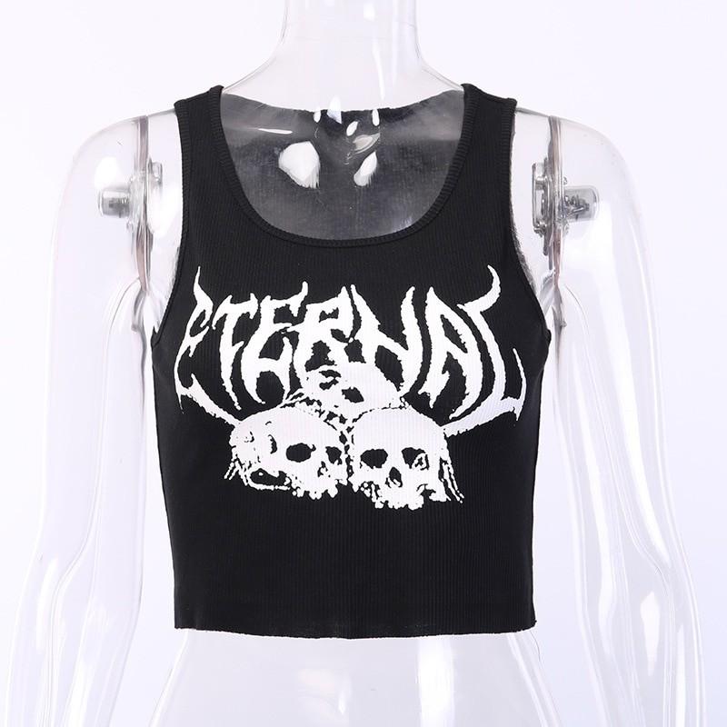 Skull Print Tank Top Y2K aesthetic 41