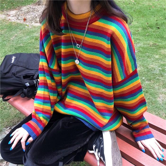 Harajuku E-girl Loose Striped Sweater 41
