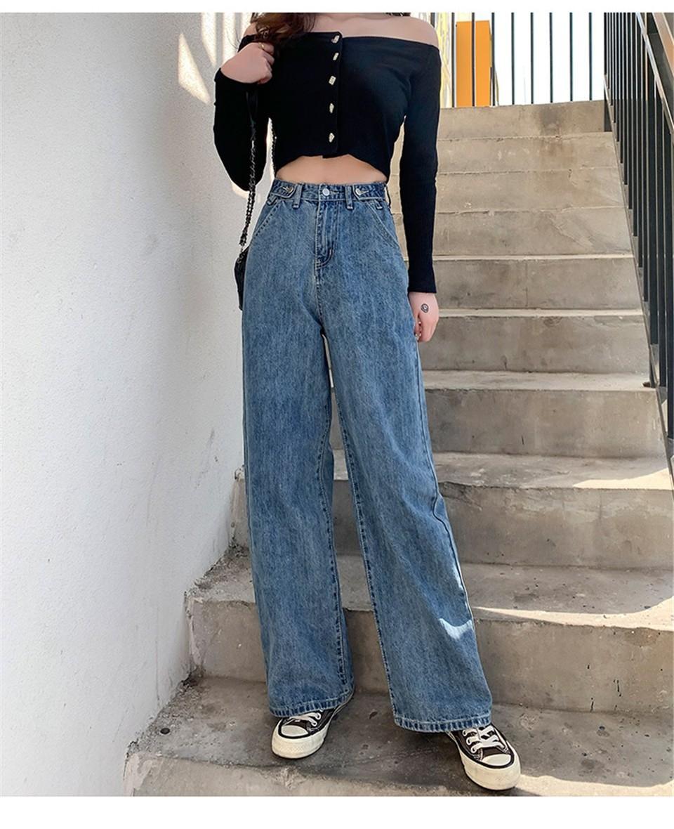 E-girl Soft girl High Waist Harajuku Straight Jeans 41