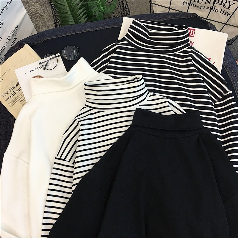 E-girl Harajuku Striped Turtleneck T-shirts 43