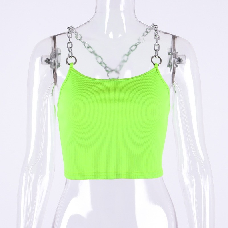 Cropped Tank Top with Metal Chain Straps Egirl 41