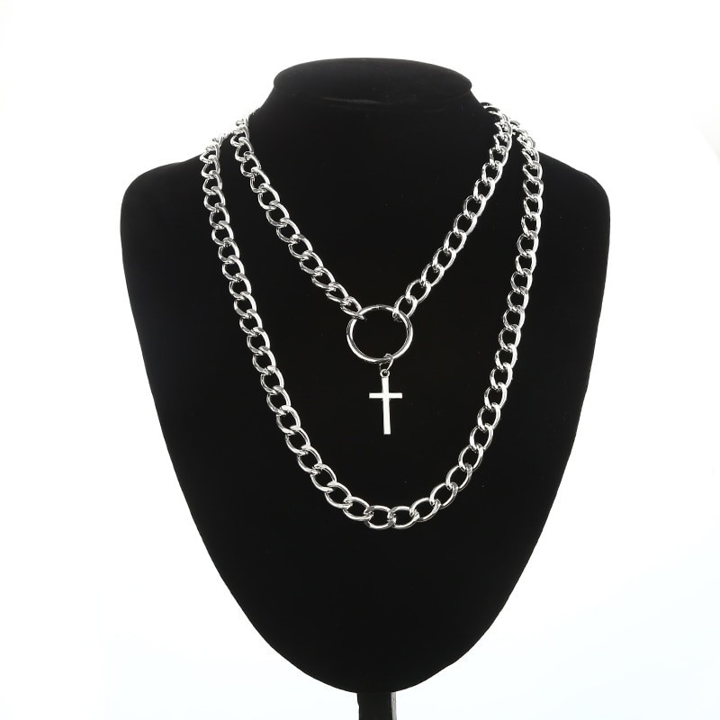 Layered Chain Necklace with Cross Pendant E-girl Pastel gothic 41