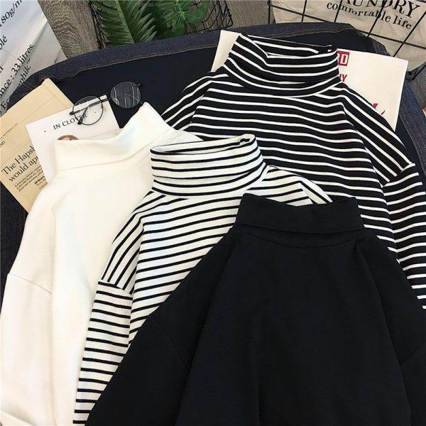 Striped Turtleneck T-shirts 5