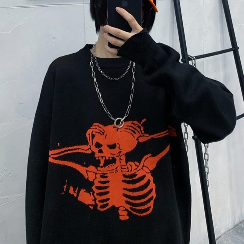 Egirl Eboy Grunge Oversized sweater with skull pattern 41